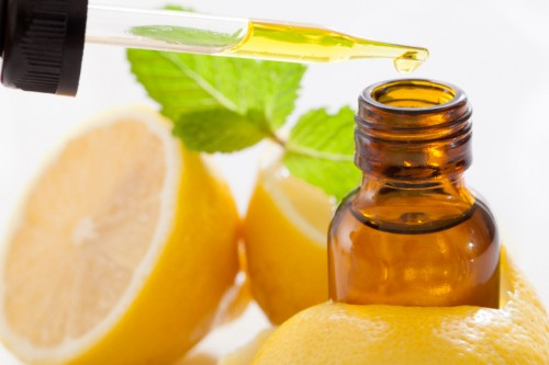 lemon essential oil in amber bottle
